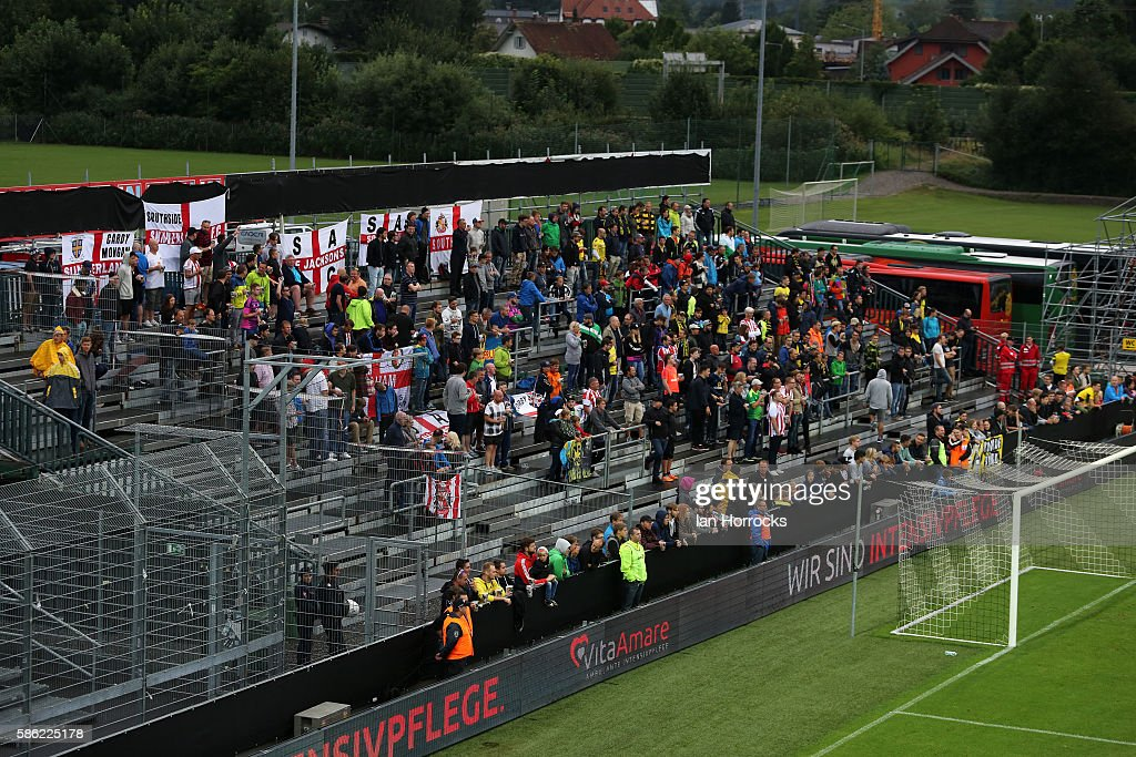 Sunderland AFC fans during the pre-season friendly match between Sunderland AFC and Borussia Dortmund at Cashpoint Arena on August 5, 2016 in Altach, Austria.