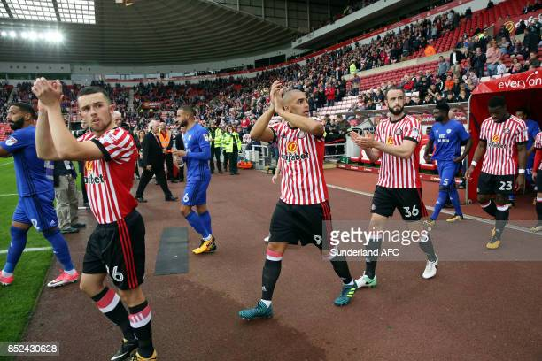 Sunderland and Cardiff City take to the field during the Sky Bet Championship match between Sunderland and Cardiff City at Stadium of Light on...