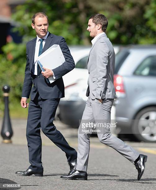 Sunderland and England footballer Adam Jonhson arrives at Durham Crown court on June 3 2015 in Durham England Jonhson is charged with three counts of...