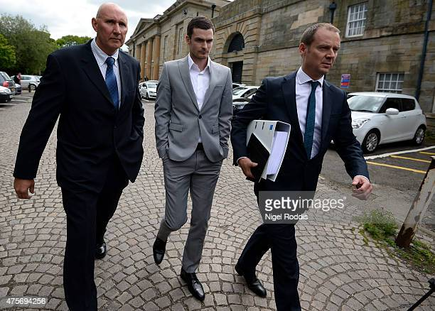 Sunderland and England footballer Adam Jonhson leaves Durham Crown court on June 3 2015 in Durham England Jonhson is charged with three counts of...