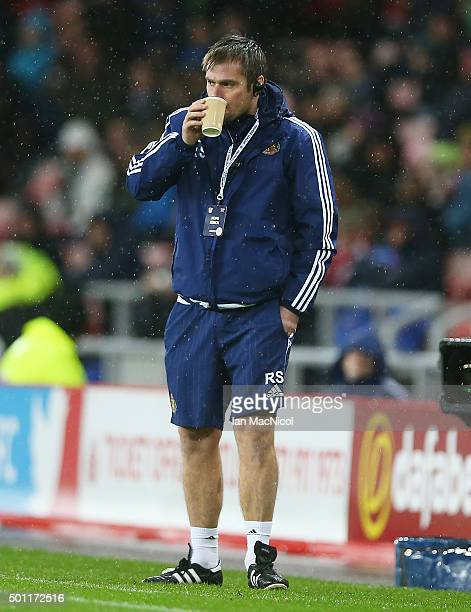 Sunderland assistant coach Robbie Stockdale looks onl during the Barclays Premier League match between Sunderland and Watford at The Stadium of Light...