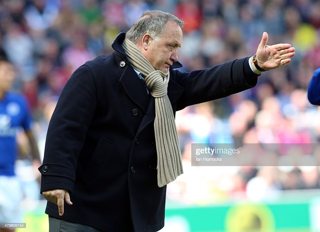 Sunderland boss Dick Advocaat during the Barclays Premier League match between Sunderland and Leicester City at the Stadium of Light on May 16, 2015 in Sunderland, England.