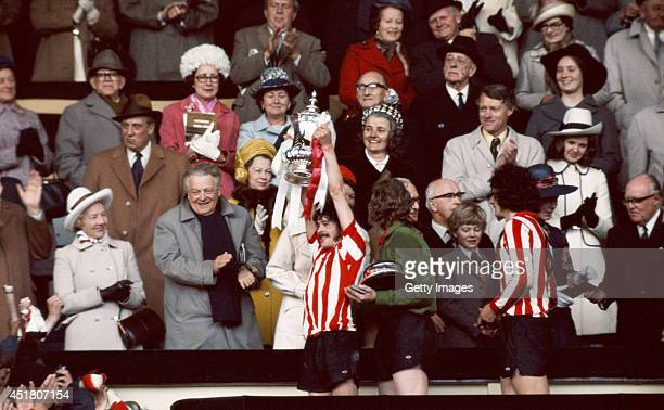 Sunderland captain Bobby Kerr lifts the FA Cup after Sunderland had beaten Leeds United 10 to win the 1973 FA Cup final at Wembley Stadium on May 5...