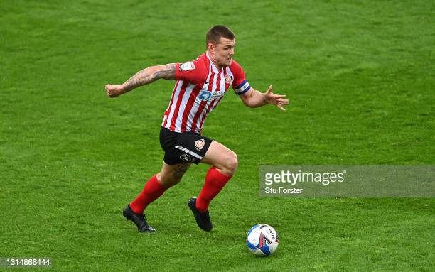 Sunderland captain Max Power in action during the Sky Bet League One match between Sunderland and Blackpool at Stadium of Light on April 27, 2021 in...