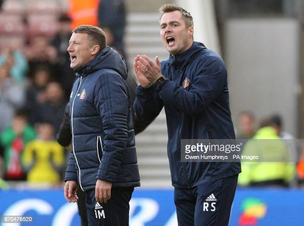 Sunderland caretaker managers Robbie Stockdale and Billy McKinlay during the Sky Bet Championship match at Riverside Stadium Middlesbrough