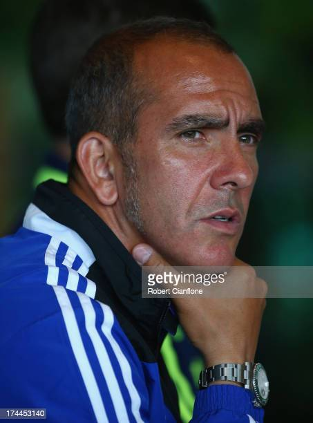 Sunderland coach Paolo Di Canio speaks to the media during a Barclays Asia Trophy press conference at Grand Hyatt on July 26 2013 in Hong Kong Hong...