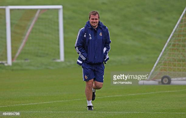 Sunderland coach Robbie Stockdale during a Sunderland training session at the Academy of Light on October 30 2015 in Sunderland England
