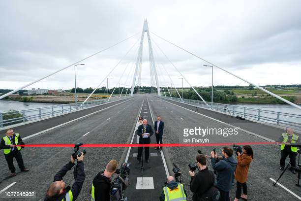 Sunderland Council Leader Graeme Miller makes a speech to media and gathered dignitaries as the new Northern Spire bridge spanning the River Wear...