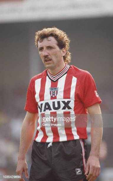 Sunderland defender Alan Kennedy pictured during a Division Two match against Shrewsbury at Gay Meadow on April 25 1987 in Shrewsbury England