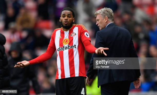 Sunderland defender Jason Denayer reacts on the final whsitle as manager David Moyes heads off during the Premier League match between Sunderland and...
