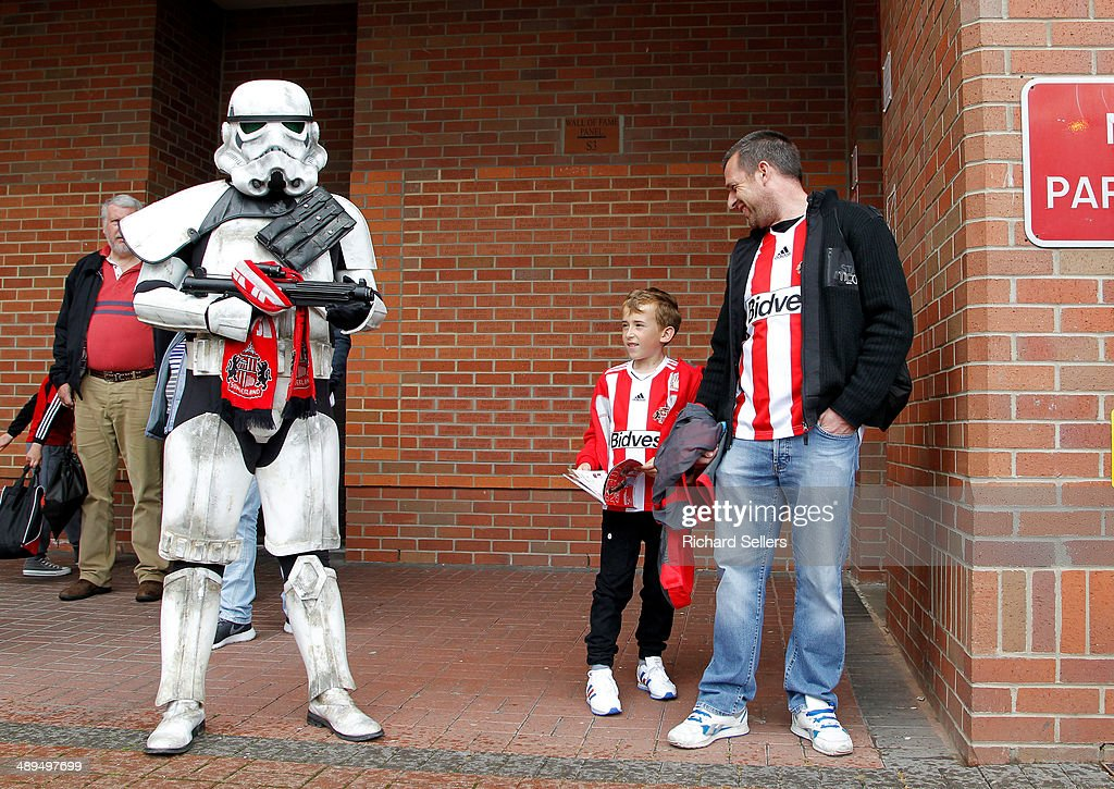 A Sunderland fan dressed as a stormtrooper outside the stadium before the Barclays Premier League match between Sunderland and Swansea City at Stadium of Light on May 11, 2014 in Sunderland, England.