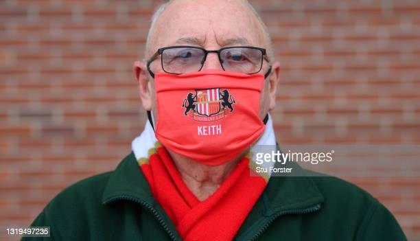 Sunderland fan Keith wearing his Sunderland AFC Mask with his name on before the Sky Bet League One Play-off Semi Final 2nd Leg match between...