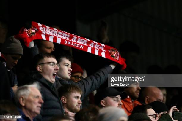 Sunderland fan shows his support during the Sky Bet League One match between Tranmere Rovers and Sunderland at Prenton Park on January 29, 2020 in...