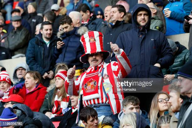 Sunderland fans cheer as the teams appear during the Sky Bet League One match between Sunderland and Ipswich Town at Stadium of Light on February 8,...