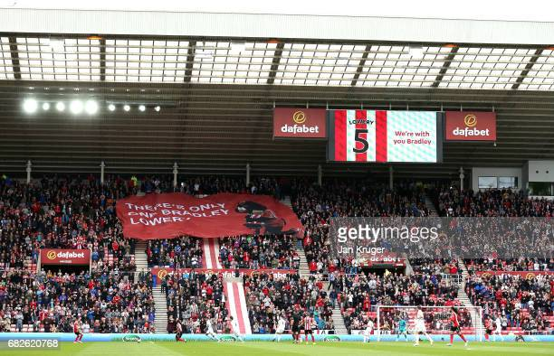 Sunderland fans display banners in surport of Bradley Lowery during the Premier League match between Sunderland and Swansea City at Stadium of Light...