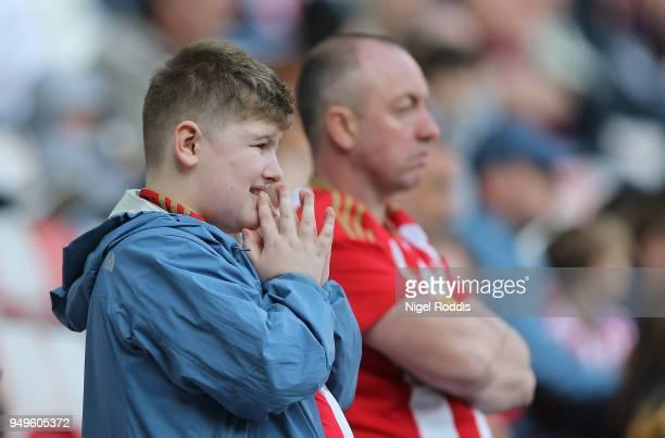 Sunderland fans react during the Sky Bet Championship match between Sunderland and Burton Albion at Stadium of Light on April 21, 2018 in Sunderland,...