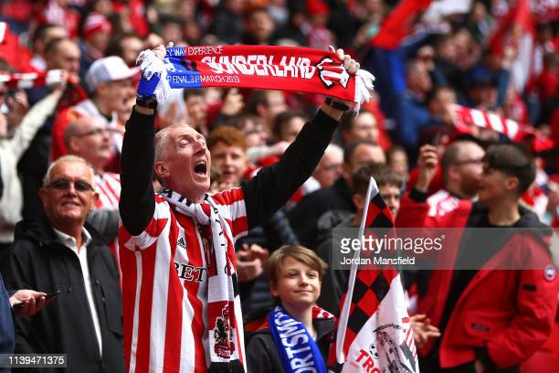 Sunderland fans show their support ahead of the Checkatrade Trophy Final between Portsmouth and Sunderland at Wembley Stadium on March 31 2019 in...