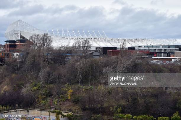 Sunderland football club's Stadium of Light is pictured in Sunderland in north east England on March 16, 2019. - The former shipbuilding city in...
