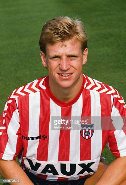 Sunderland forward Marco Gabbiadini pictured pre season circa 1988 at Roker Park in Sunderland England