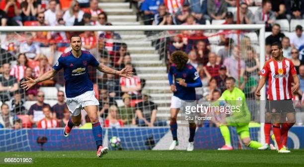 Sunderland goalkeeper Jordan Pickford reacts as Manchester United striker Zlatan Ibrahimovic celebrates after scoring the opening United goal during...