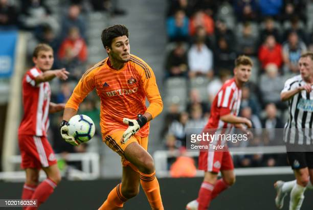Sunderland Goalkeeper Max Johnstone throws the ball into play during the Premier League 2 Match between Newcastle United and Sunderland at StJames...