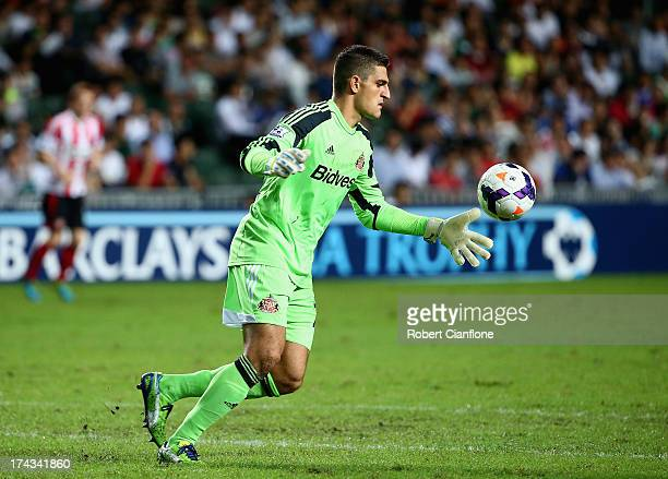 Sunderland goalkeeper Vito Mannone prepares to kick the ball during the Barclays Asia Trophy Semi Final match between Tottenham Hotspur and...