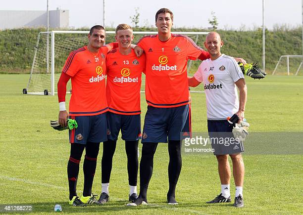 Sunderland goalkeeping team LR Jordan Pickford Vito Mannone Costel Pantilimon and coach Adrian Tucker during a Sunderland AFC training session on day...