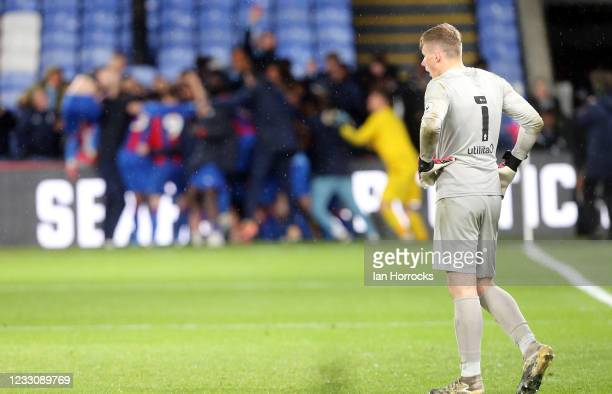 Sunderland keeper Anthony Patterson watches the Palace team celebrate after winning a penalty shoot out during the Premier League 2 play off game...
