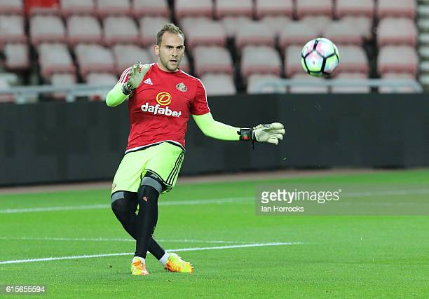 Sunderland keeper Mika warms up during the Premier League 2 match between Sunderland U23 and Derby County U23 at the Stadium of Light on October 19...