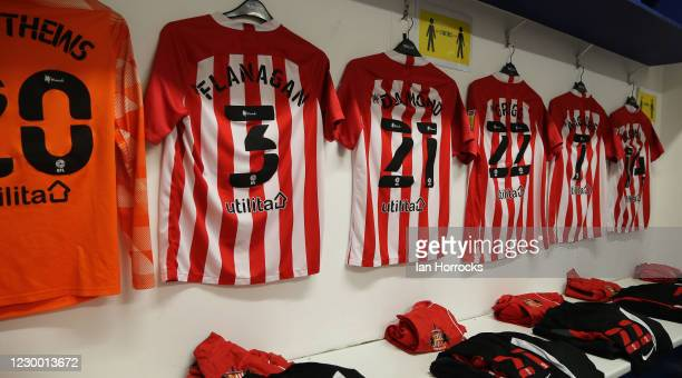 Sunderland kit hangs on the dressing room walls before the Papa John's Trophy match between Oldham Athletic and Sunderland AFC at Boundary Park on...