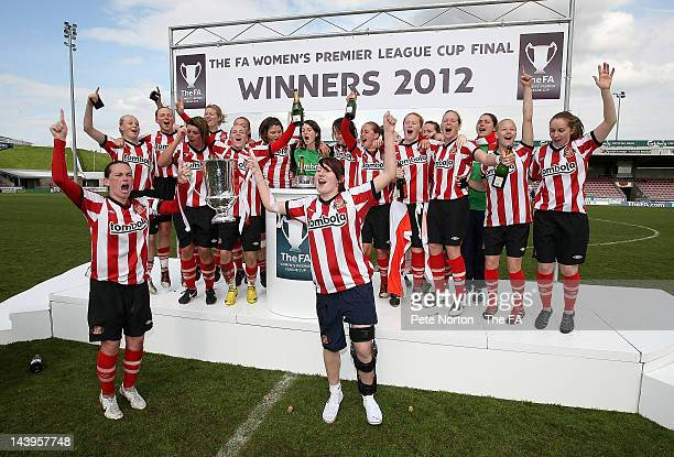 Sunderland Ladies celebrate with the cup after victory in the FA Women's Premier League Cup Final between Sunderland Ladies and Leeds United Ladies...