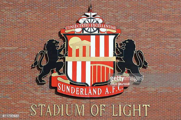 Sunderland logo and name of stadium during the Premier League match between Sunderland and West Bromwich Albion at Stadium of Light on October 1 2016...