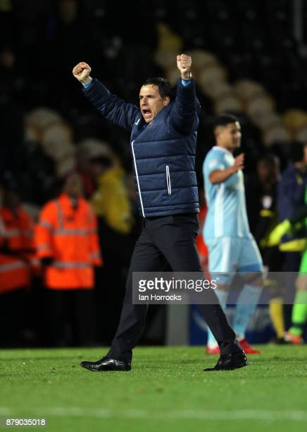 Sunderland manager Chris Coleman celebrates on the final whistle during the Sky Bet Championship match between Burton Albion and Sunderland at...