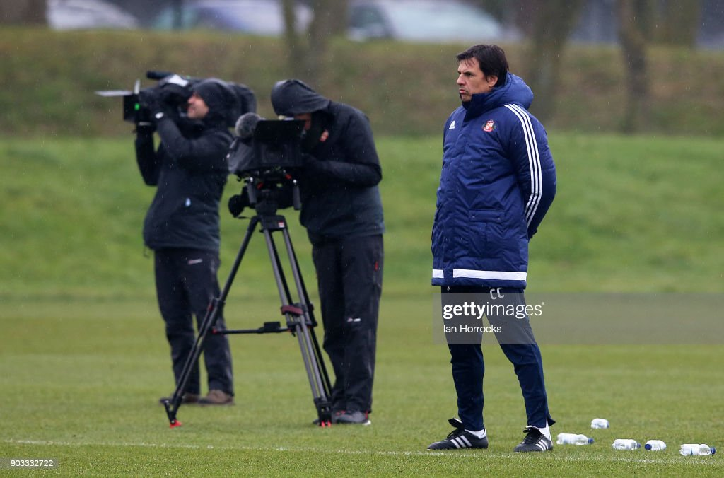 Sunderland manager Chris Coleman during a SAFC training session at The Academy of Light on October 12, 2017 in Sunderland, England.