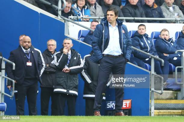 Sunderland manager Chris Coleman during the Sky Bet Championship match between Cardiff City and Sunderland at the Cardiff City Stadium on January 13...