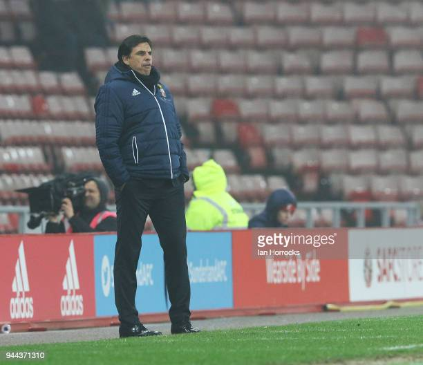 Sunderland manager Chris Coleman during the Sky Bet Championship match between Sunderland and Norwich City at Stadium of Light on April 10 2018 in...