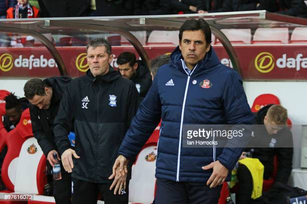 Sunderland manager Chris Coleman greets his counterpart Steve Cotterill during the Sky Bet Championship match between Sunderland and Birmingham City...