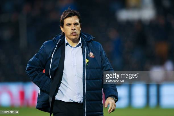 Sunderland manager Chris Coleman looks on prior to the Sky Bet Championship match between Fulham and Sunderland at Craven Cottage on April 27 2018 in...