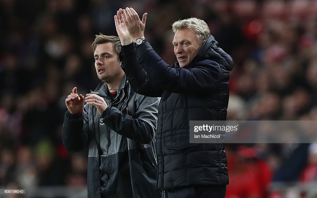 Sunderland manager David Moyes reacts during the Premier League match between Sunderland and Watford at Stadium of Light on December 17, 2016 in Sunderland, England.