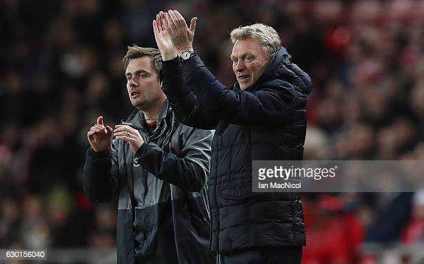 Sunderland manager David Moyes reacts during the Premier League match between Sunderland and Watford at Stadium of Light on December 17 2016 in...
