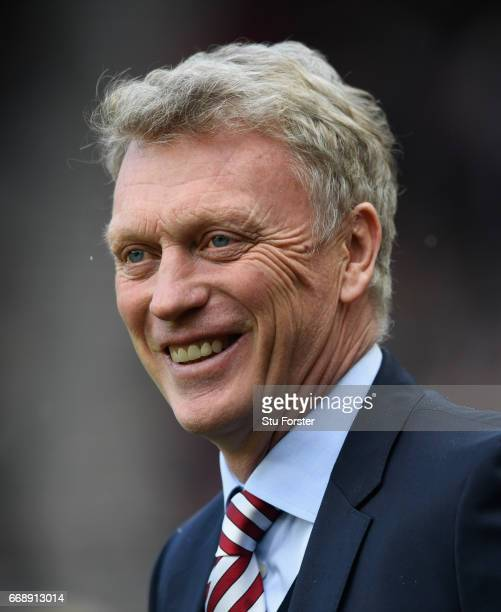 Sunderland manager David Moyes reacts during the Premier League match between Sunderland and West Ham United at Stadium of Light on April 15 2017 in...