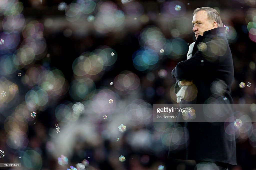 Sunderland manager Dick Advocaat after the West Ham goal was scored during the Barclays Premier League match between West Ham United and Sunderland AFC at The Boleyn Ground on March 21, 2015 in London, England.
