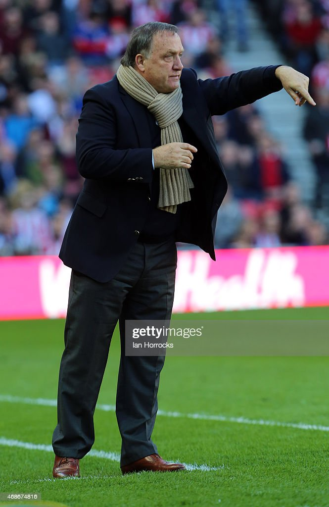 Sunderland manager Dick Advocaat during the Barclays Premier League match between Sunderland AFC and Newcastle United at the Stadium of Light on April 05, 2015 in Sunderland, England.