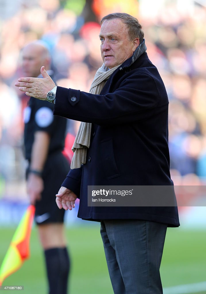 Sunderland manager Dick Advocaat during the Barclays Premier League match between Stoke City and Sunderland AFC at the Britannia Stadium on April 25, 2015 in Stoke, England.