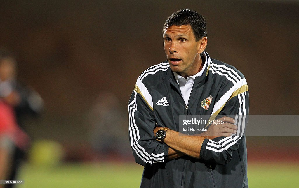 Sunderland manager Gus Poyet during a pre-season friendly match between CD National and Sunderland at the Estadio Municipal Albufeira on July 30, 2014 in Albufeira, Portugal.