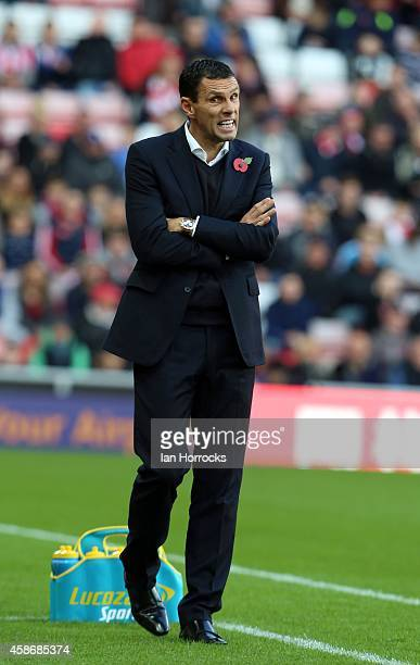 Sunderland manager Gus Poyet during the Barclays Premier League match between Sunderland and Everton at the Stadium of Light on November 09, 2014 in...