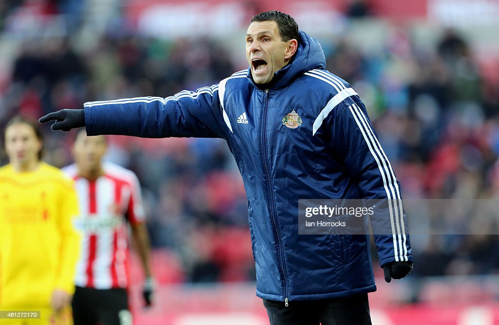 Sunderland manager Gus Poyet during the Barclays Premier League match between Sunderland and Liverpool at the Stadium of Light on January 10, 2015 in Sunderland, England.