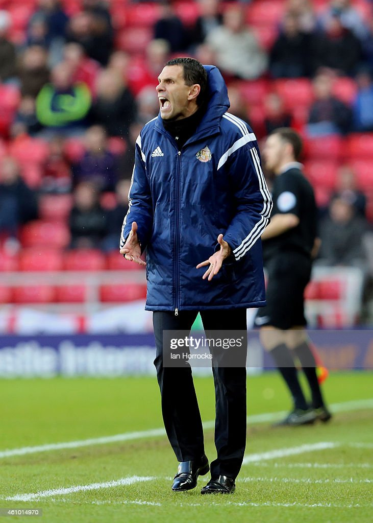 Sunderland manager Gus Poyet during the FA Cup third round match between Sunderland and Leeds United at the Stadium of Light on January 04, 2015 in Sunderland, England.