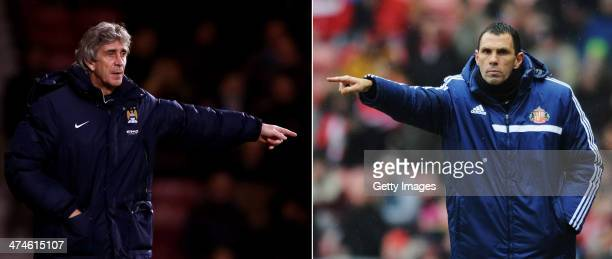IMAGES Image Numbers 464202807 and 463473677 In this composite image a comparison has been made between Manuel Pellegrini manager of Manchester City...