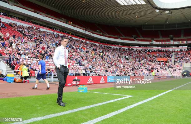 Sunderland manager Jack Ross during the Sky Bet League One match between Sunderland and Charlton Athletic at Stadium of Light on August 4 2018 in...